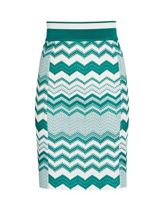 Chevron Knit Mini Skirt, WHITE/TURQUOISE, hi-res