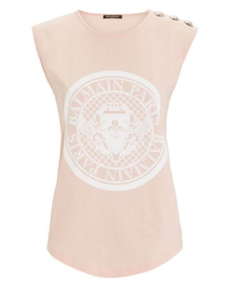 Button Embellished Tank Top, PINK, hi-res