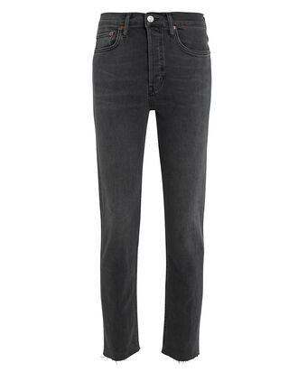 High Rise Ankle Crop Jeans, GREY, hi-res