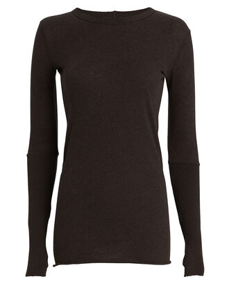 Cuffed Cotton-Cashmere Crewneck Top, BROWN, hi-res