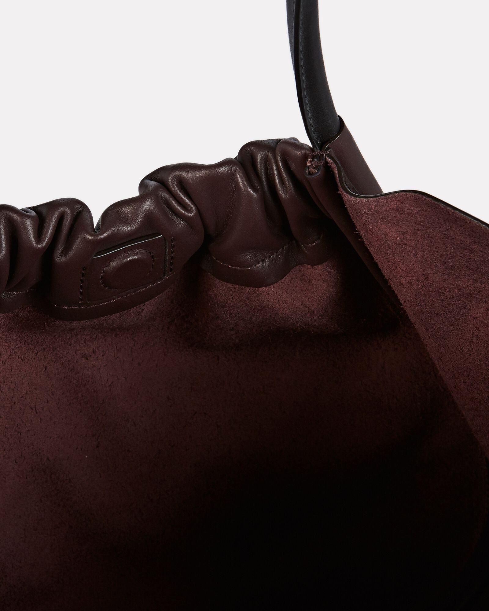 Ruched L Leather Tote, RED-DRK, hi-res