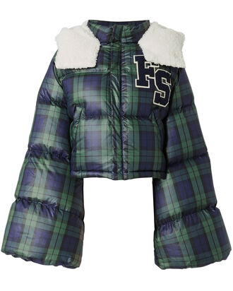 Plaid Crop Puffer Jacket, PATTERN, hi-res
