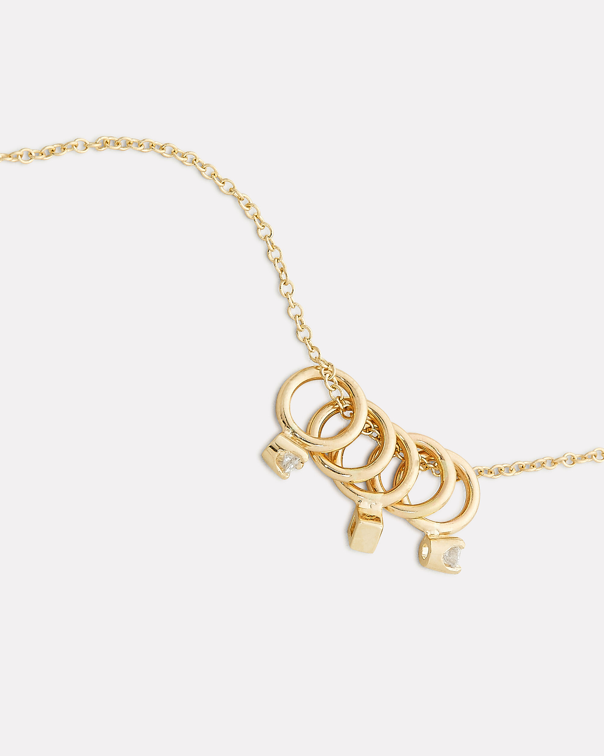 Five Tiny Rings Necklace, GOLD, hi-res