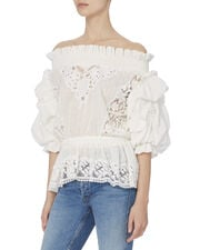 Ruffle Lace Top, WHITE, hi-res