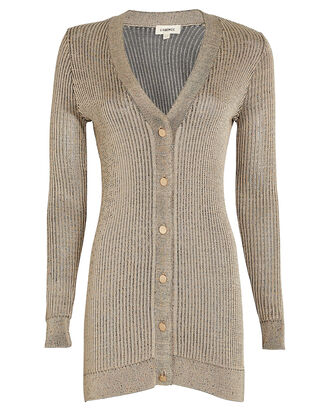 Millie V-Neck Cardigan, BEIGE, hi-res