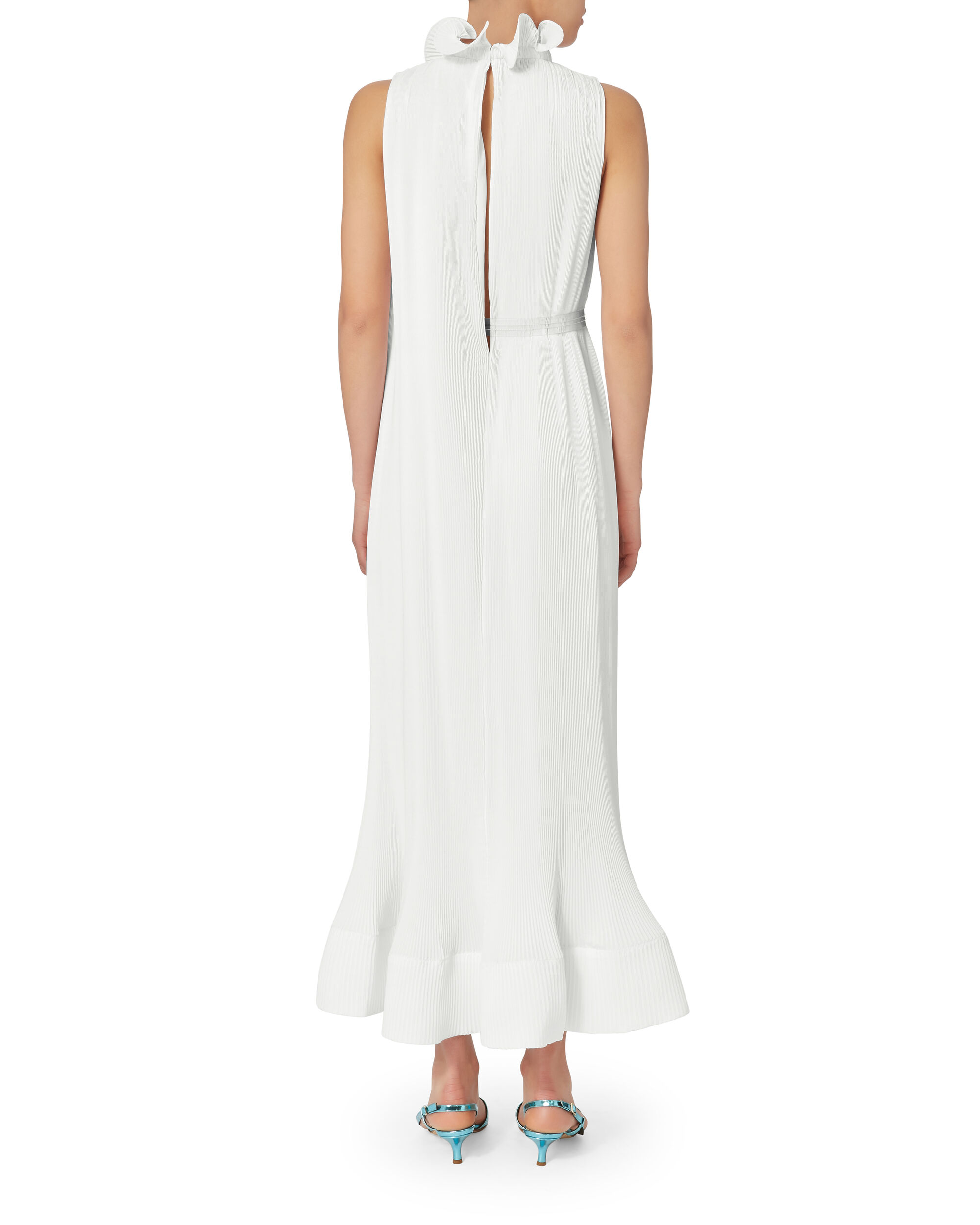 Ruffle Trim Pleated Dress, WHITE, hi-res