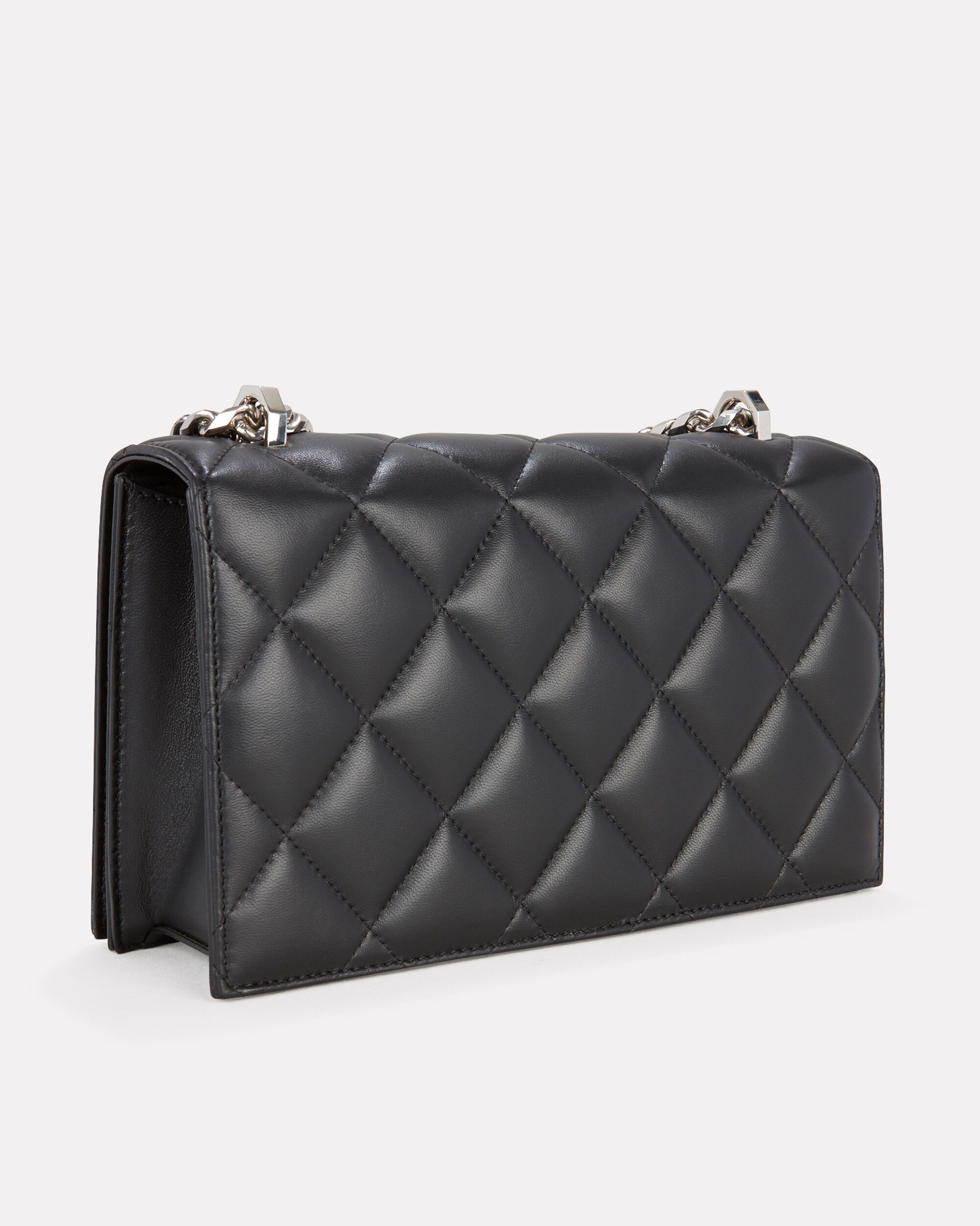 Jeweled Quilted Satchel Bag, BLACK, hi-res