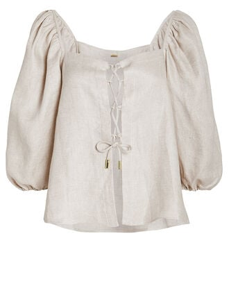 Aurel Linen Cotton Tie Front Top, BEIGE, hi-res