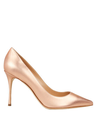 Godiva Gold Leather Pumps, GOLD, hi-res