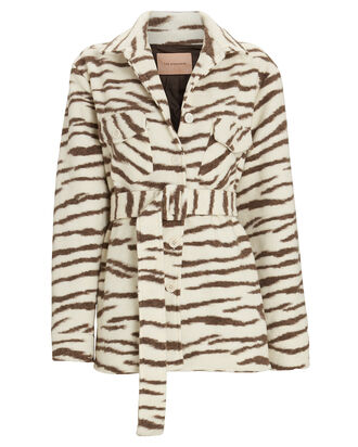Evita Zebra Striped Shirt Jacket, IVORY/CHARCOAL, hi-res