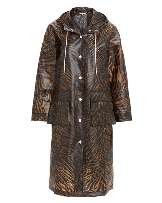 Tiger Print Rain Jacket, BROWN/BLACK, hi-res