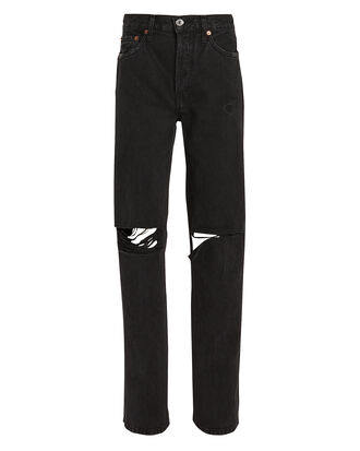 High-Rise Loose Black Jeans, BLACK, hi-res
