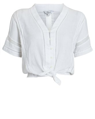 Thea Lace-Trimmed Button-Down Top, WHITE, hi-res