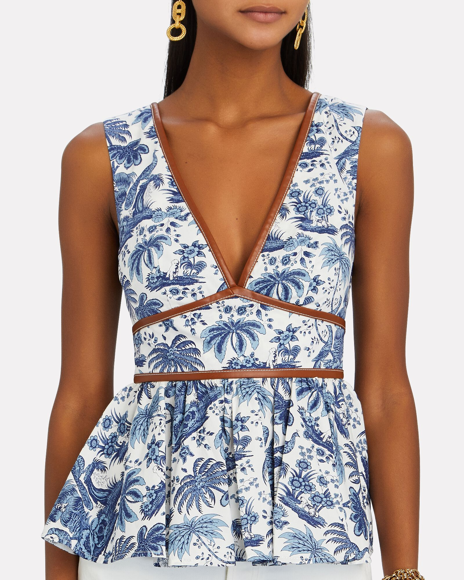 Trent Toile Sleeveless Peplum Top, BLUE-MED, hi-res