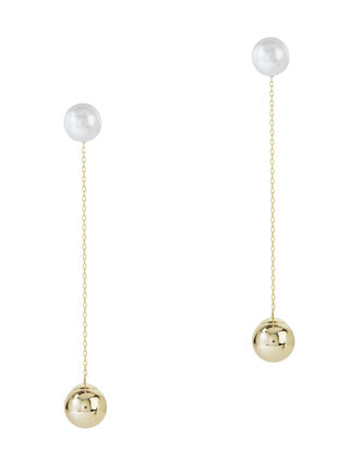 Pearl Drop Earrings, GOLD, hi-res