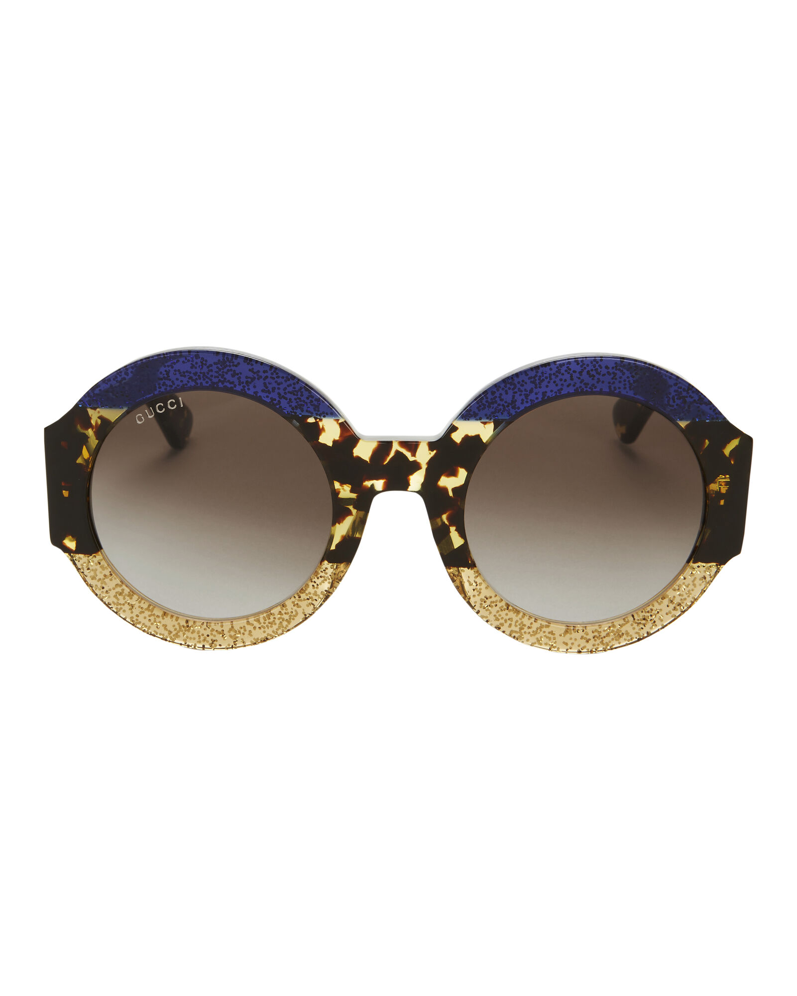 fd4fd51945 Oversized Colorblock Glitter Round Sunglasses