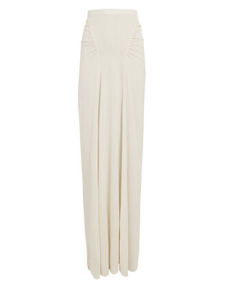 Ruched Maxi Skirt, WHITE, hi-res