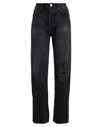 High-Rise Loose Distressed Jeans, BLACK, hi-res