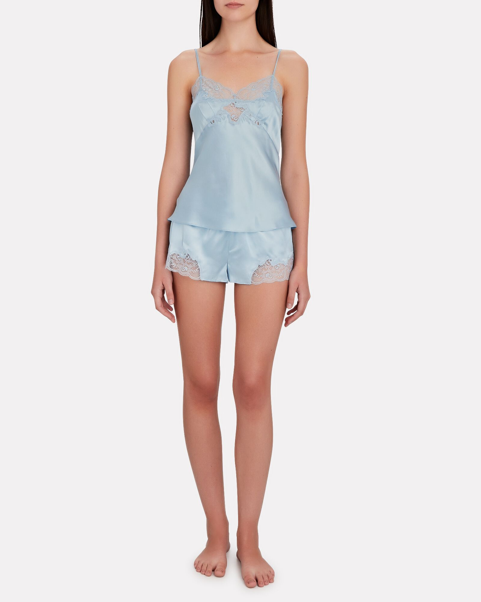 Lace-Trimmed Silk Charmeuse Camisole, BLUE-LT, hi-res
