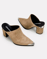 Cutout Suede Mules, BROWN, hi-res