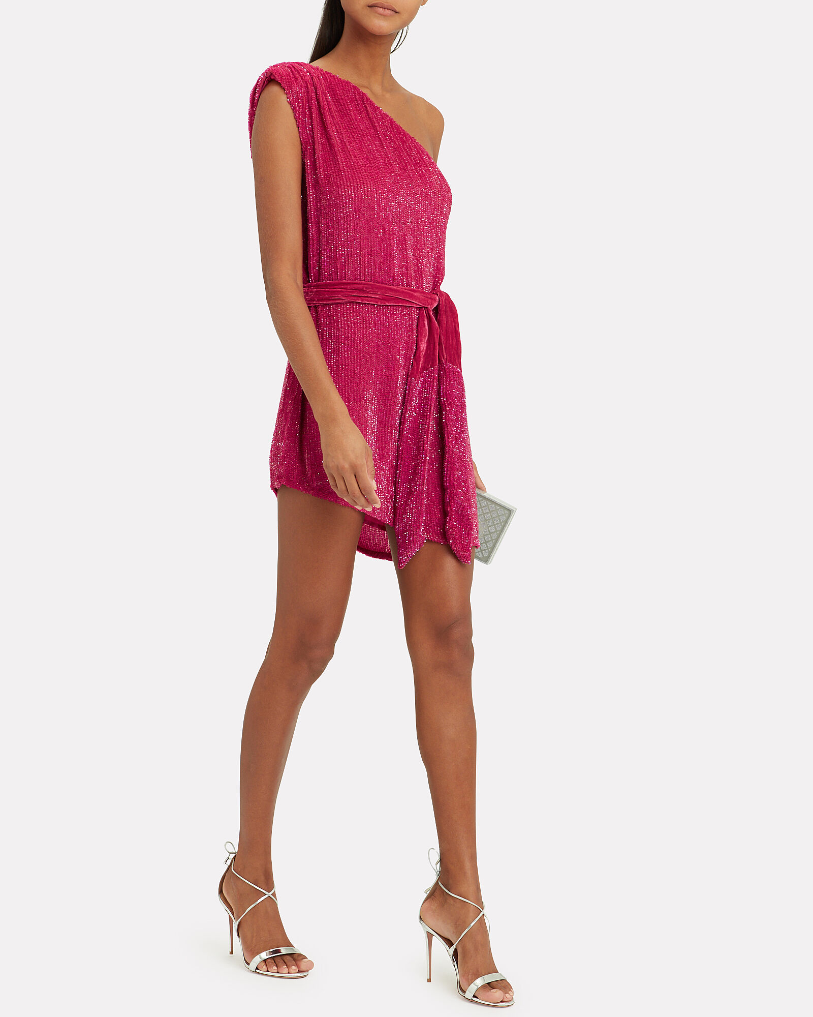 One Shoulder Sequin Mini Dress, PINK, hi-res