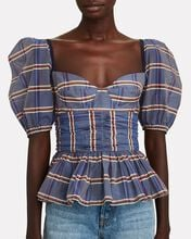 Striped Puff Sleeve Peplum Top, BLUE, hi-res