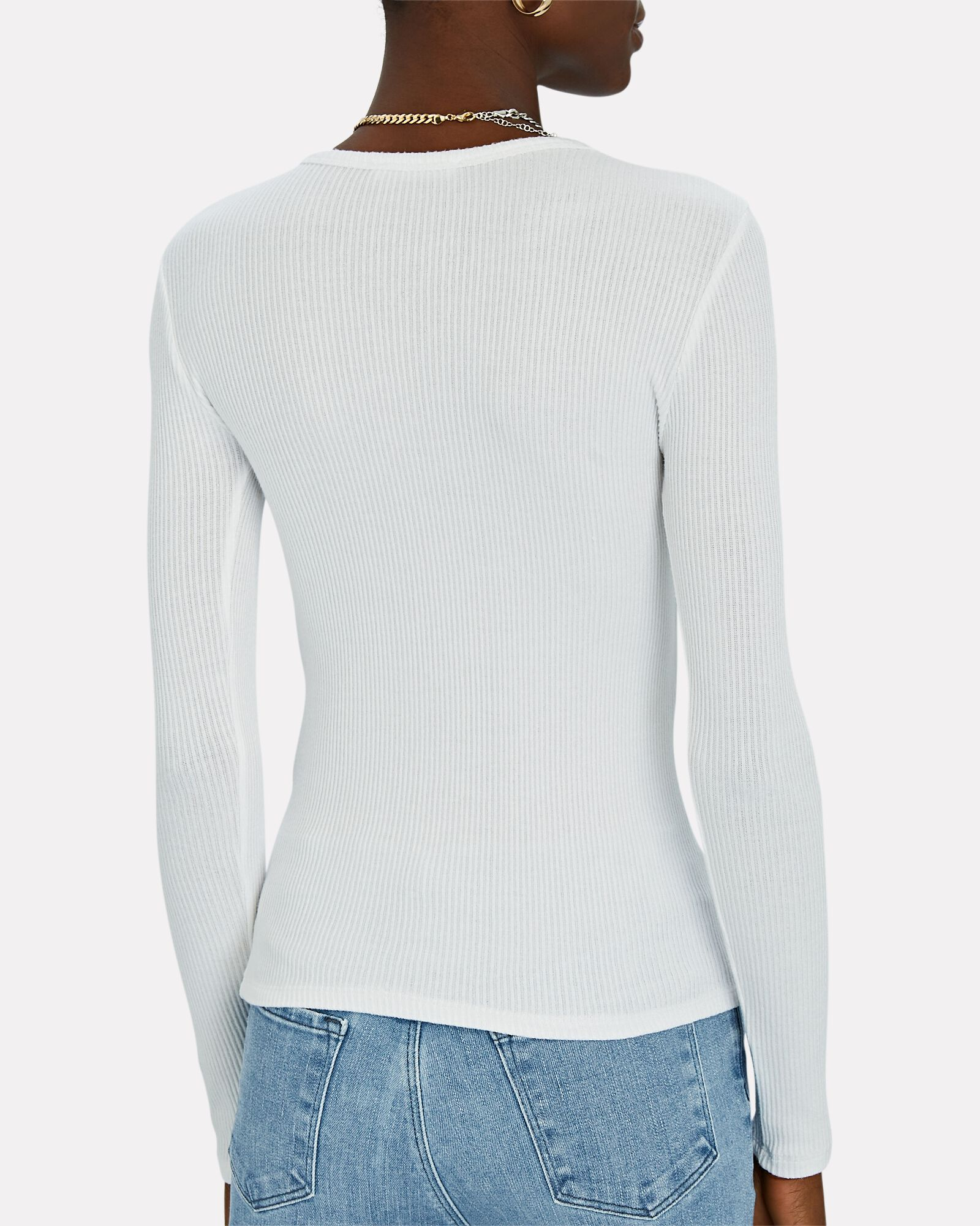 Quincy Long Sleeve Rib Knit Top, WHITE, hi-res