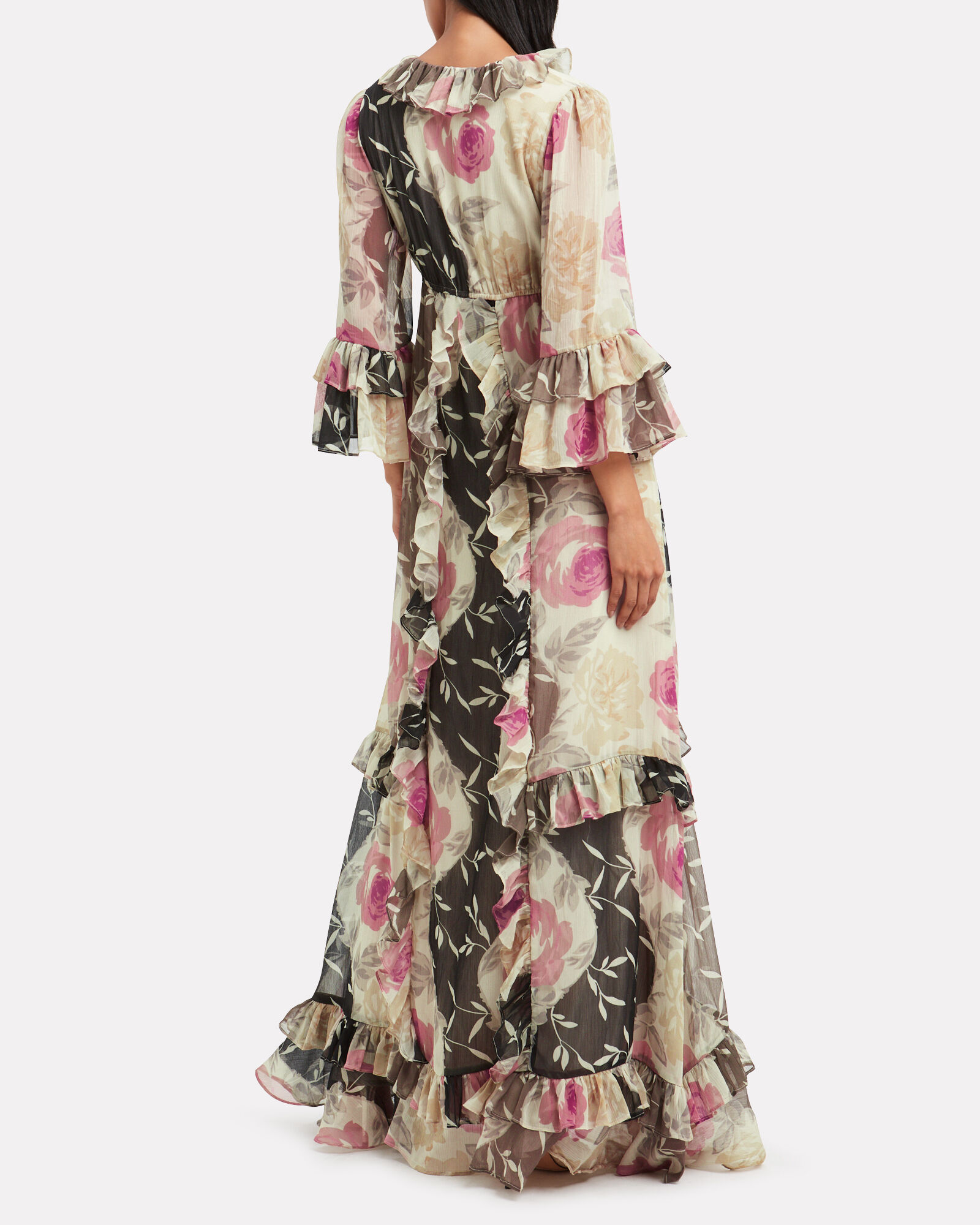 Ruffle Cascade Maxi Dress, BROWN/FLORAL, hi-res