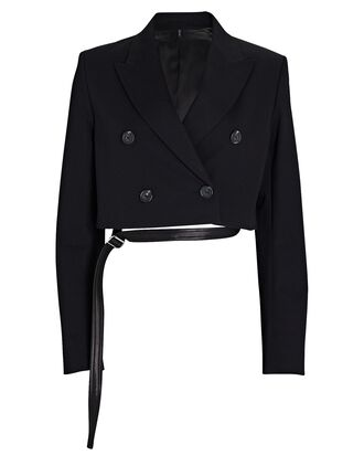 Cropped Double-Breasted Blazer, BLACK, hi-res