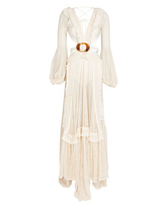 Fringed Cut-Out Maxi Dress, IVORY, hi-res