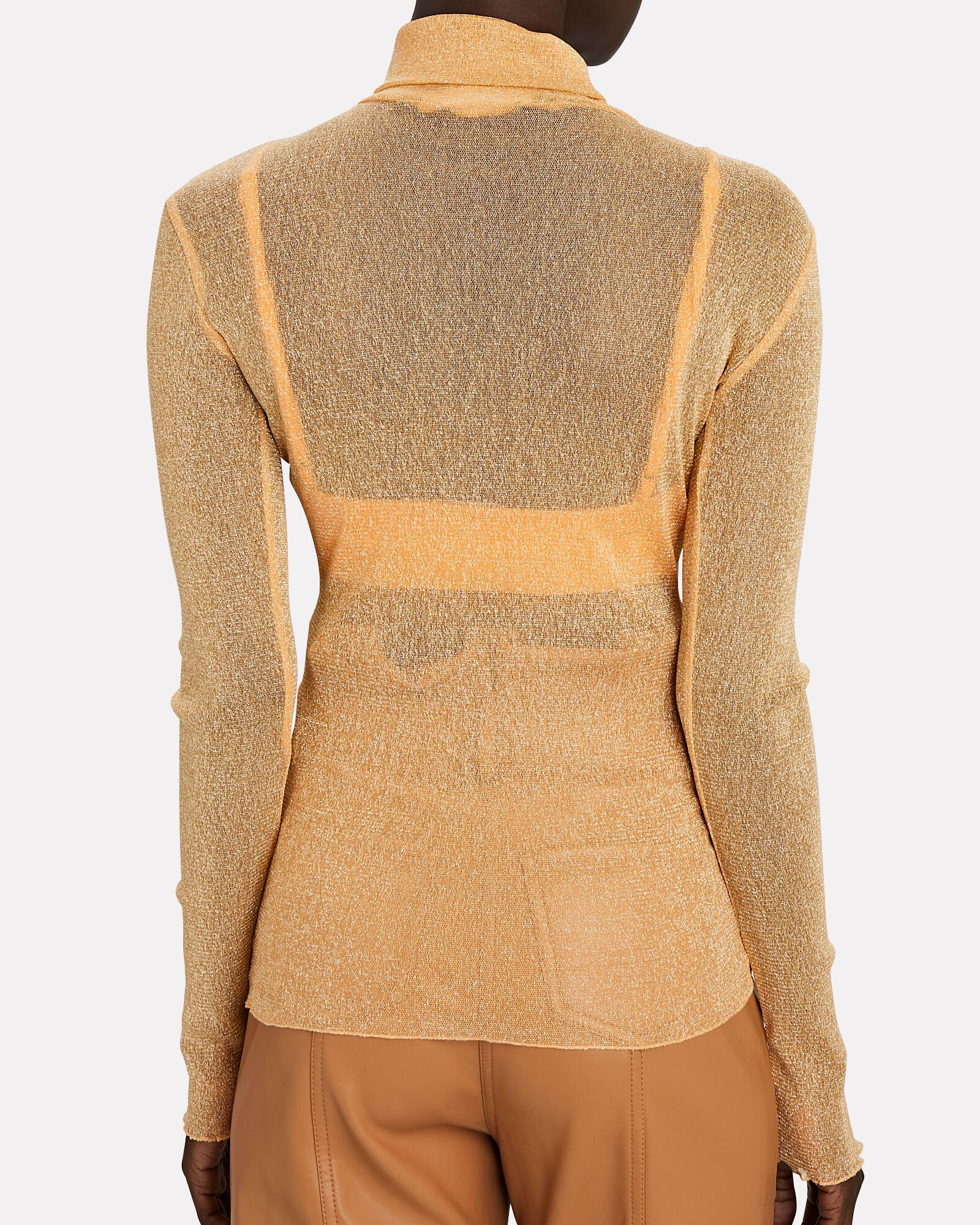 Charli Shimmer Organza Turtleneck Top, ORANGE, hi-res