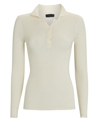 Daisy Silk-Wool Polo Sweater, IVORY, hi-res