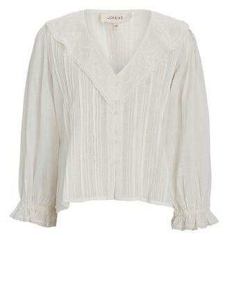 The Hankie Cotton Voile Blouse, WHITE, hi-res