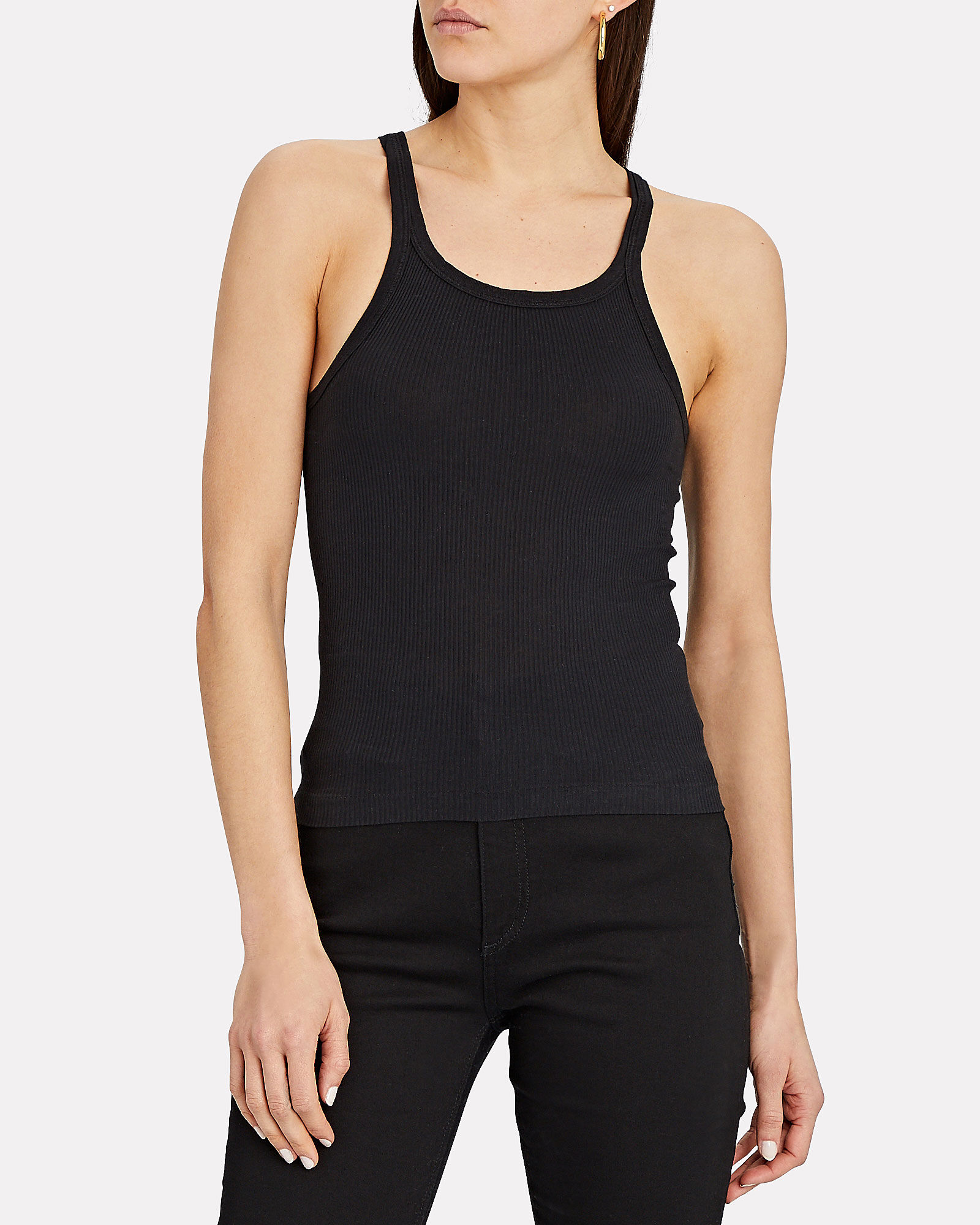 Rib Knit Tank Top, BLACK, hi-res