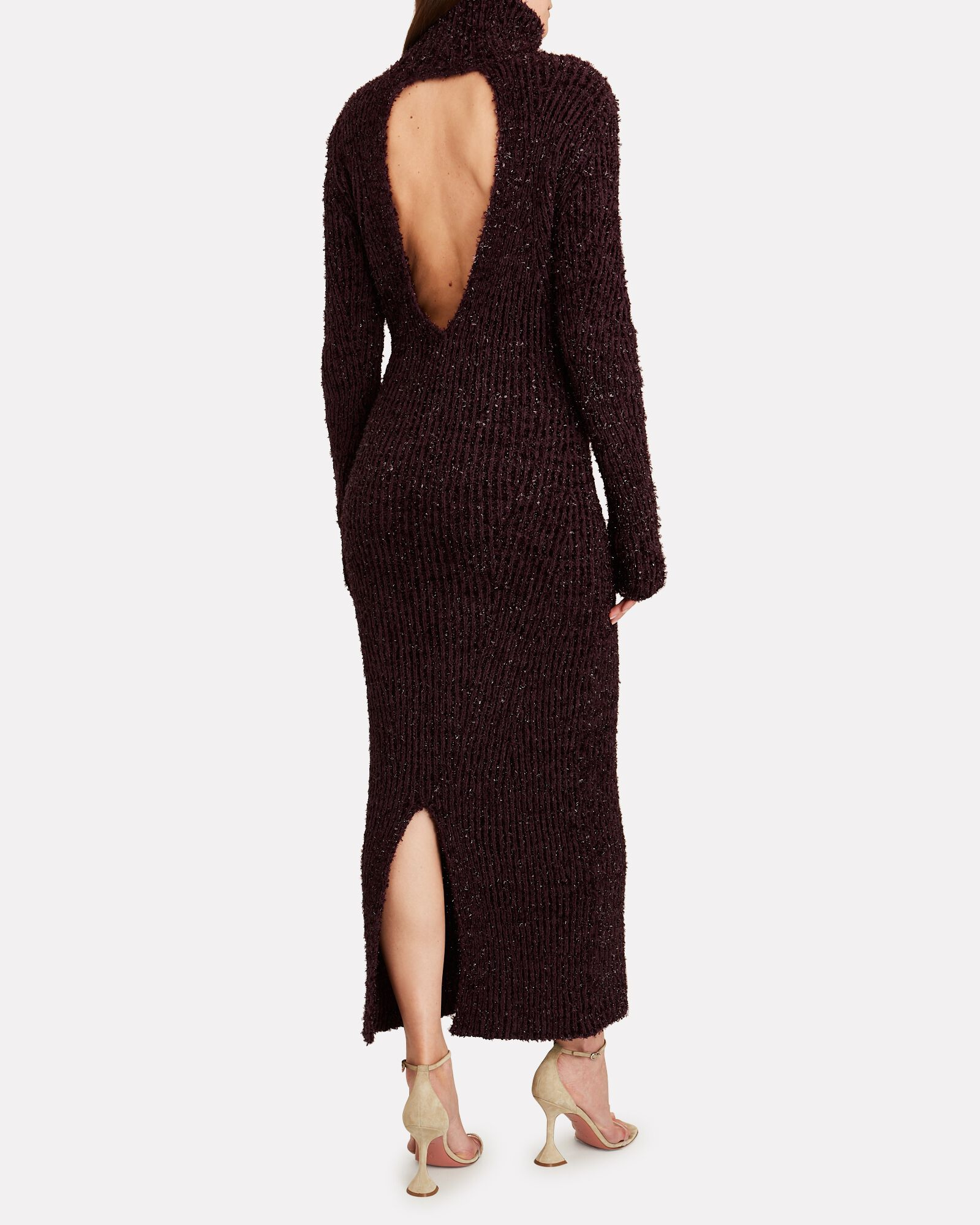 Open Back Turtleneck Knit Dress, RED-DRK, hi-res