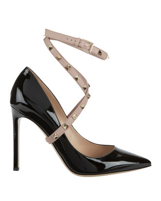 Rockstud Crisscross Patent Leather Pumps, BLACK, hi-res