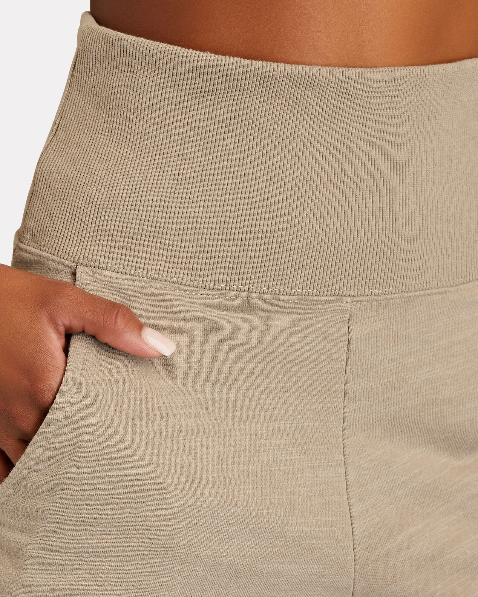 So High-Waisted Sweat Shorts, BEIGE, hi-res