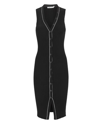Skinny Ribbed Knit Dress, BLACK, hi-res
