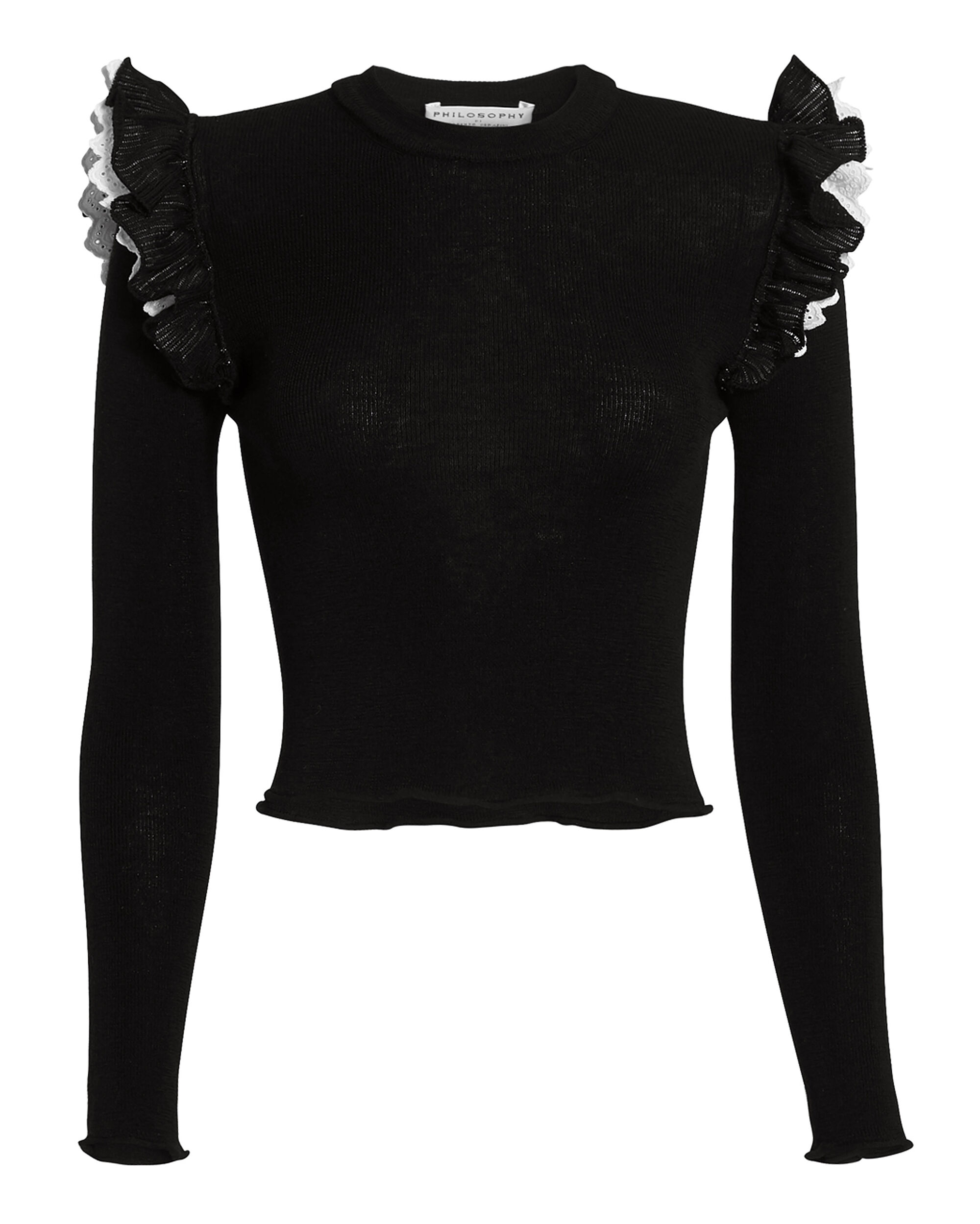 Ruffled Shoulder Knit Top, BLACK, hi-res