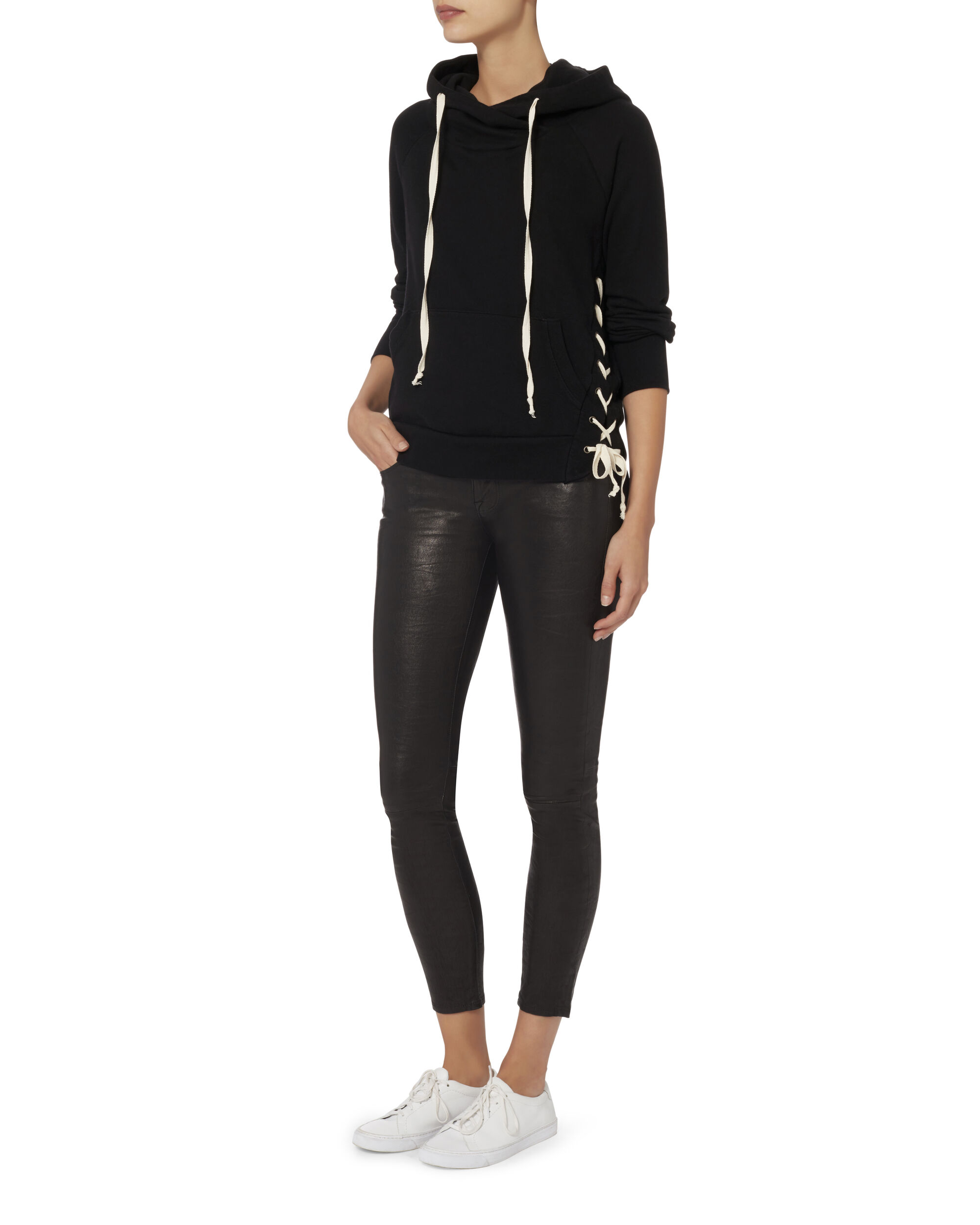 Enzo Lace-Up Side Sweatshirt, BLACK, hi-res