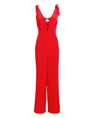 Brigette Printed Jumpsuit, RED POLKA DOT, hi-res