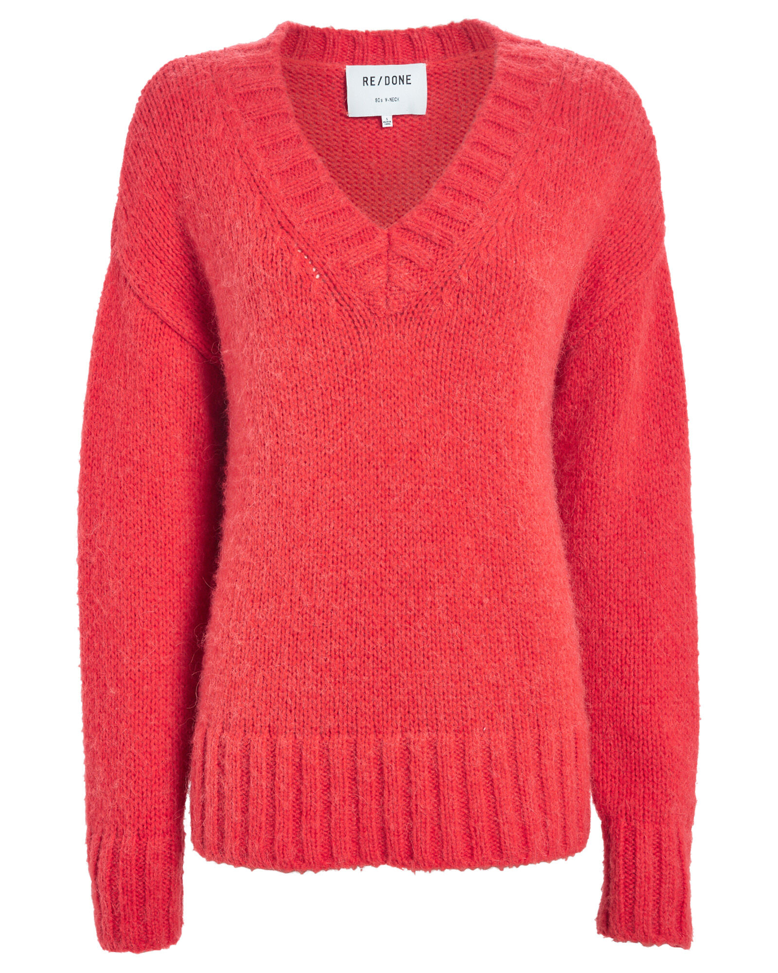 90's Oversized V-Neck Sweater, RED, hi-res