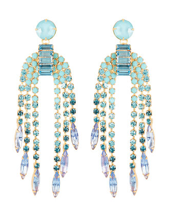 Darla Crystal Fringe Earrings, BLUE, hi-res