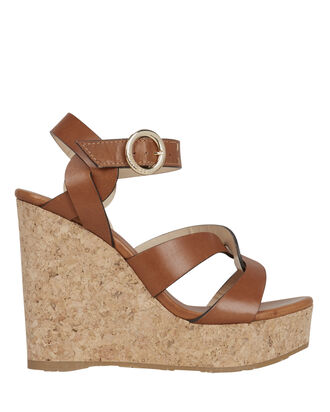 Aleili Brown Leather Wedges, BROWN, hi-res