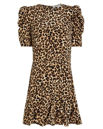Lila Leopard Puff Sleeve Dress, BROWN/LEOPARD, hi-res