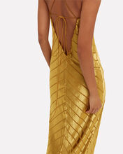 Topaz Velvet Stripe Gown, YELLOW, hi-res