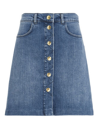 Claire Front Button Denim Skirt, DARK BLUE DENIM, hi-res