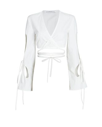 Anglaise Cropped Cut-Out Wrap Top, WHITE, hi-res