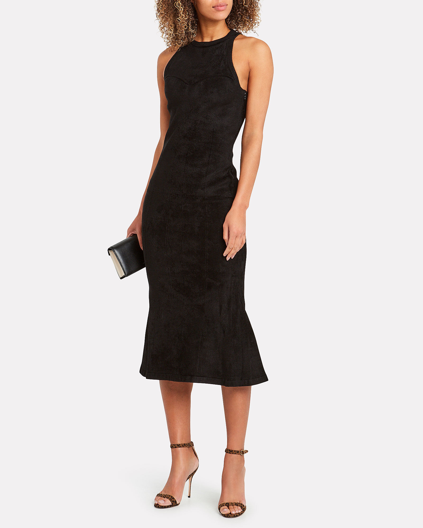 Faux Suede Racerback Dress, BLACK, hi-res