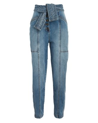 Otto Tie-Waist Crop Jeans, MEDIUM WASH DENIM, hi-res